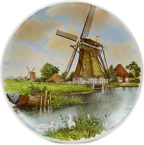 Collectible  J.C Van Hunnik Plates Mill with Geese Color