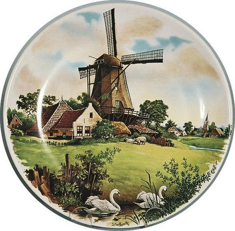 Collectible Plate Windmill and Swans Color - DutchGiftOutlet.com