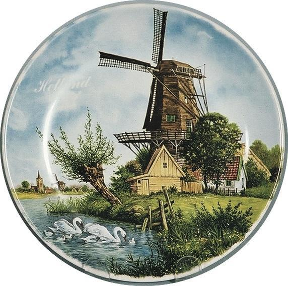 Collectible Plate Windmill and Swan Color - DutchGiftOutlet.com