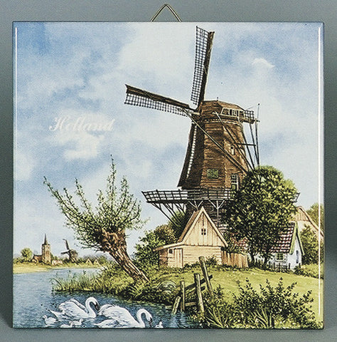 Collectible Tiles Windmill & Swan Color - DutchNovelties