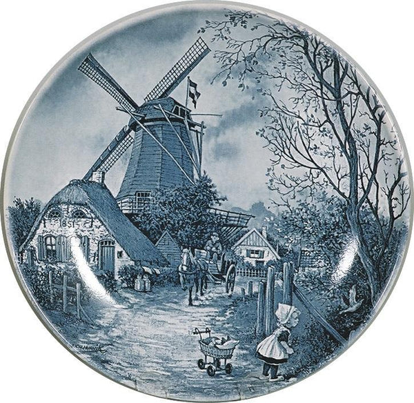 Collectible Plate Fall Scene Blue - DutchGiftOutlet.com