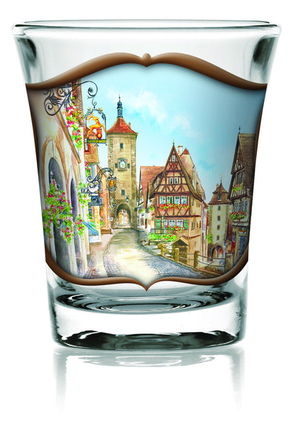 German Shot Glass Clear: Village - DutchNovelties