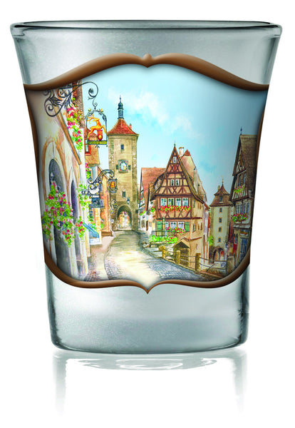 German Shot Glass Frosted: Village - DutchNovelties  - 1