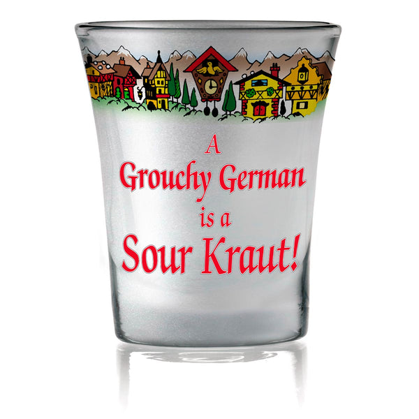German Souvenir Frosted Shot Glass: Grouchy German