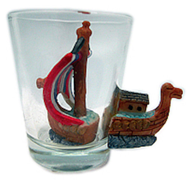 3-D Viking Ship Souvenir Shot Glass - DutchNovelties  - 1