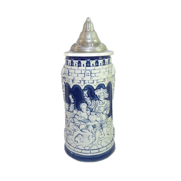 Germany Castle Cobalt Blue Beer Stein with Lid