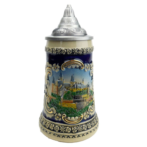 Bavarian Castle Engraved Beer Stein w/ Lid