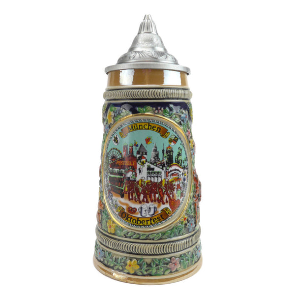 Oktoberfest Ceramic Stein with Lid - DutchNovelties