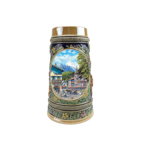 Summer in Germany Beer Stein .5 Liter Embossed Ceramic