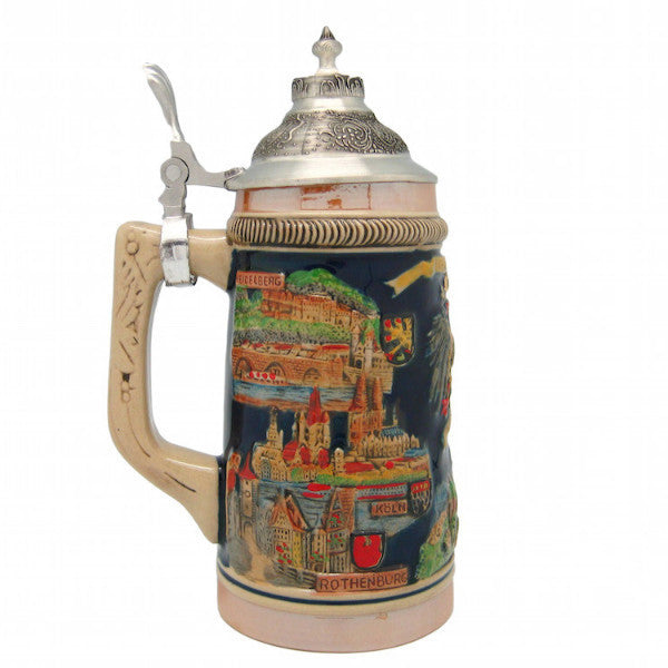 Engraved Beer Steins: German Landmarks Metal Lid - DutchNovelties