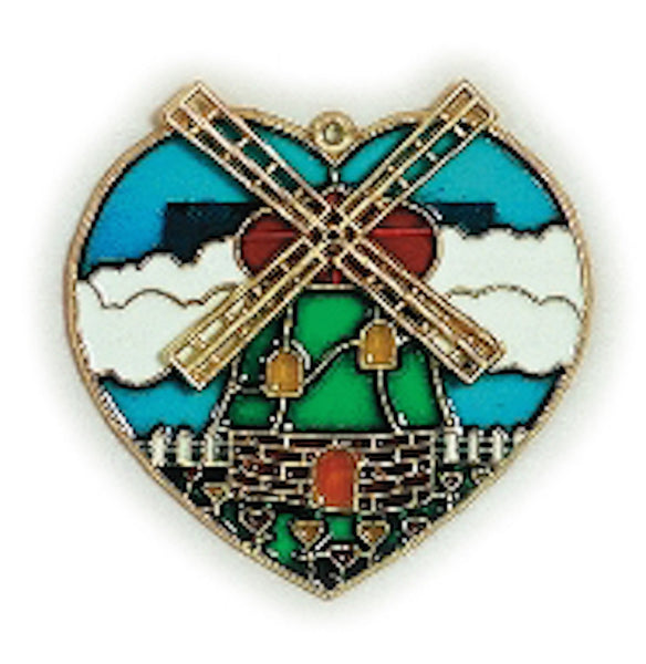 Blue Heart  Sun catcher with Windmill Design - DutchNovelties