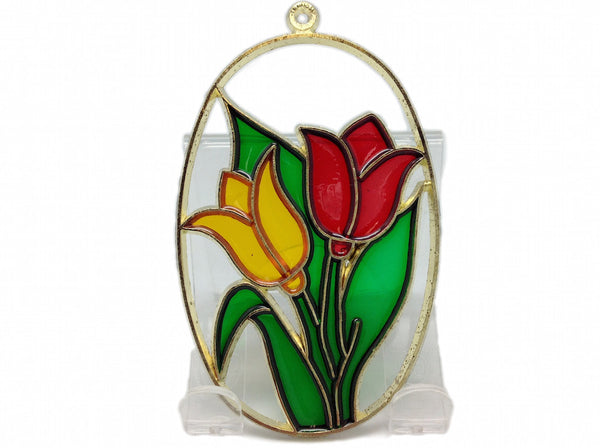 Red and Yellow Tulips in Clear Oval Sun Catcher - DutchNovelties