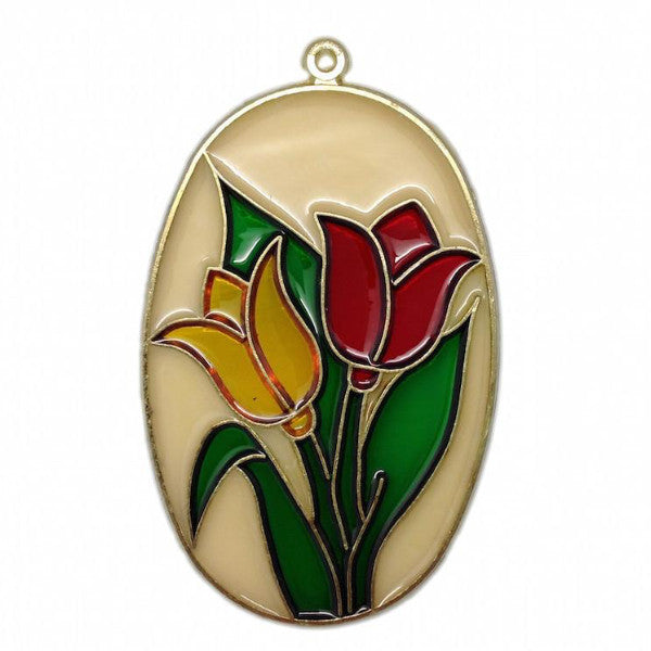 Beige Oval Sun Catcher with Red and Yellow Tulips - DutchNovelties  - 1