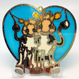 Cuddling Cows Blue Heart Shaped Sun Catcher - DutchNovelties  - 2