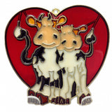 Red Heart Shaped Sun Catcher w/ Cuddling Cows - DutchNovelties