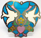Kissing Lovebirds Blue Heart Shaped Sun Catcher - DutchNovelties  - 2