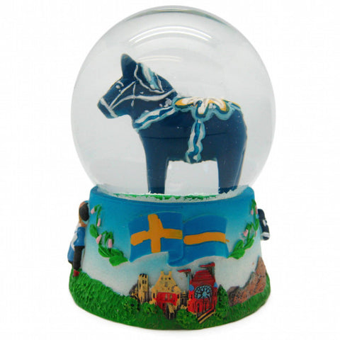 Blue Dala Horse Snow Globe - DutchNovelties  - 1