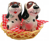 Collectible Salt and Pepper Shakers Dogs Basket - DutchNovelties  - 1