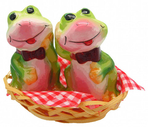 Collectible Salt and Pepper Shakers Frogs Basket - DutchNovelties  - 1