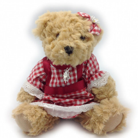 Stuffed German Teddy Bear Girl (red dress) - DutchNovelties  - 1