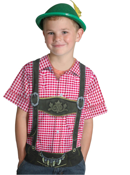 German Costume Youth Lederhosen Realistic Faux Shirt - GermanGiftOutlet.com