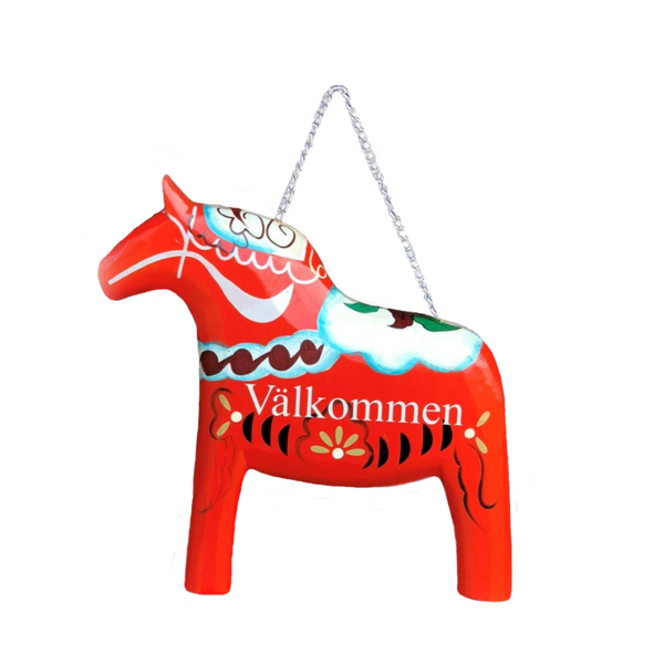 Red Wooden Dala Horse Welcome Sign