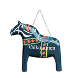 Blue Wood Dala Horse Entryway Sign