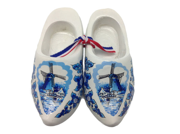 "Netherlands Decorative Wooden Shoe Clogs Landscape Design Blue and White 4"" - DutchNovelties"