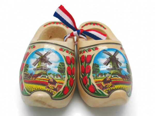 "Netherlands Decorative Wooden Shoe Clogs Landscape Design Natural Tulips 3.25"" - DutchNovelties"