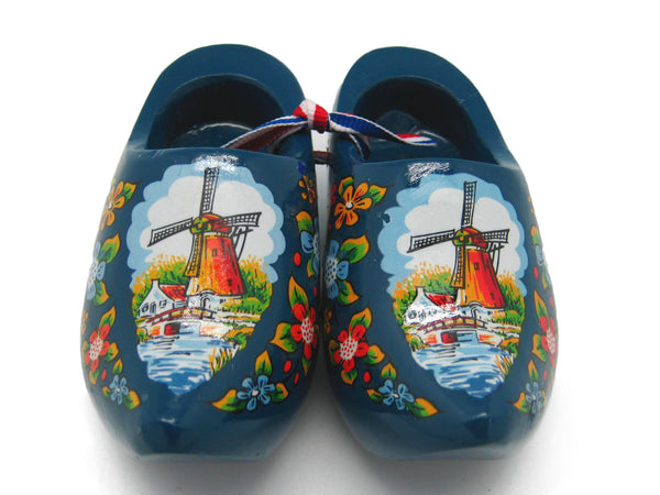 "Netherlands Decorative Wooden Shoe Clogs Landscape Design Blue 4"" - DutchNovelties"