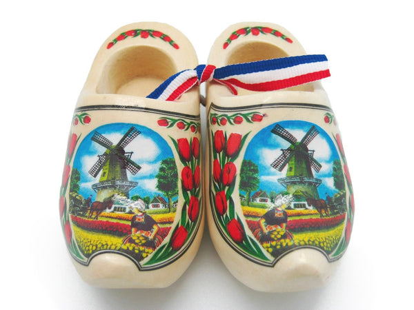 "Netherlands Wooden Shoe Landscape Design Natural 4"" - DutchNovelties"