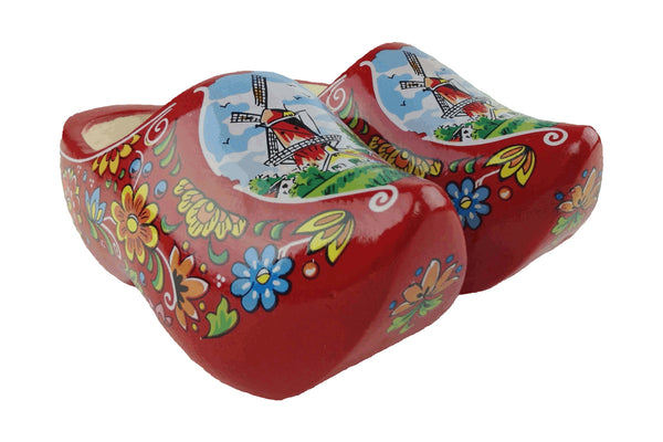 "Netherlands Shoe Clogs w/ Windmill Design Red- 4.25"" - DutchNovelties"