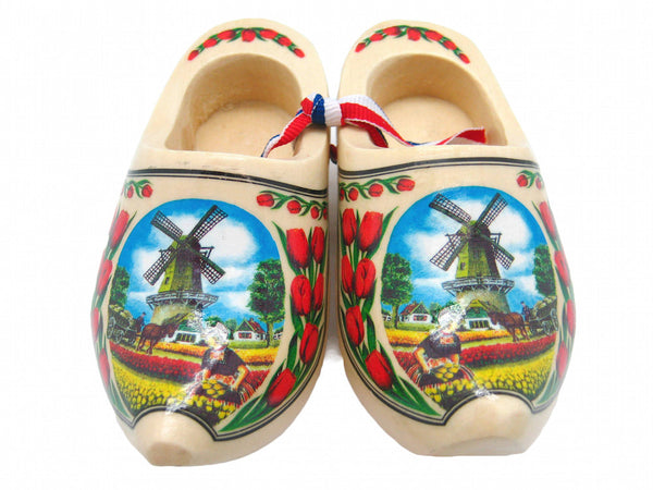 Netherlands Wooden Shoes Natural Tulip - DutchNovelties