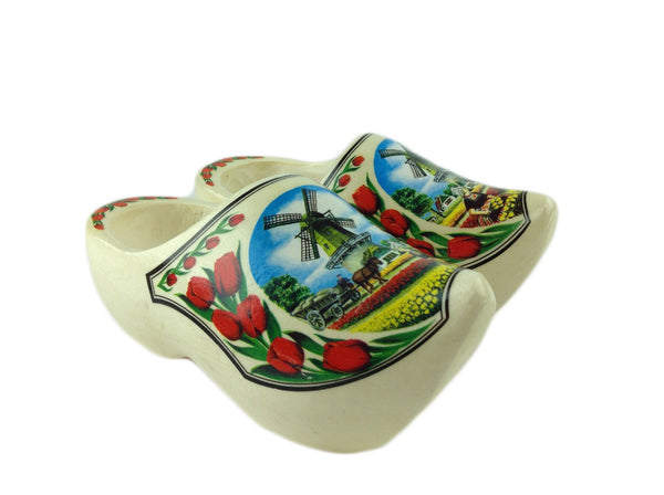 "Netherlands Shoe Clogs w/ Windmill and Tulips Design-6.5"" - DutchNovelties"