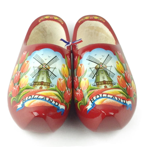 Red Authentic Dutch Wooden Shoes - DutchNovelties  - 1
