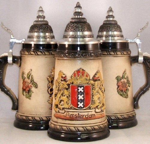 Rustic Amsterdam Relief Beer Stein From Germany 0.25 Liter - DutchNovelties