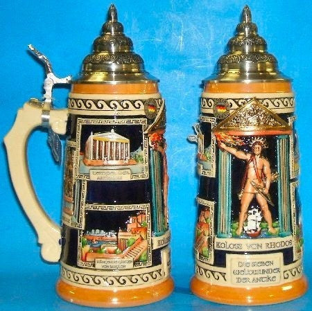 Seven Wonders of the World German Beer Stein 1 Liter From King-Werks - GermanGiftOutlet.com