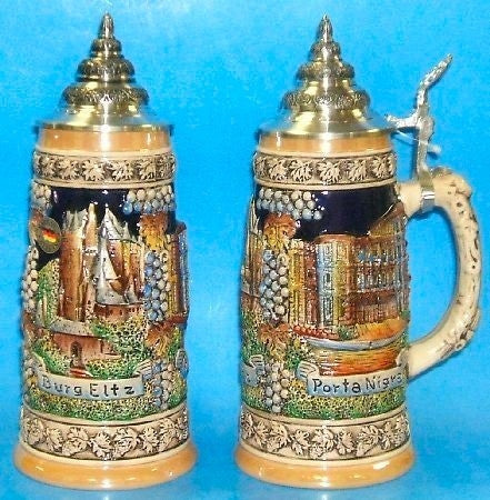 Moselle Mosel River Castles Beer Stein From Germany 0.5 Liter By King-Werks - DutchNovelties