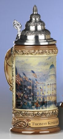 Thomas Kinkade Flags over Capitol German Beer Stein From King-Werks - GermanGiftOutlet.com