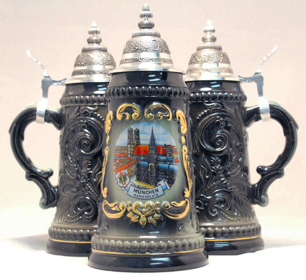Munchen Munich Marienplatz Black Shield Beer Stein From Germany .25 L - DutchNovelties