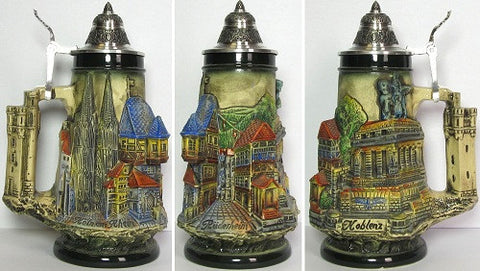 0.3 Liter Rhine River Towns Beer Stein By King-Werks - GermanGiftOutlet.com