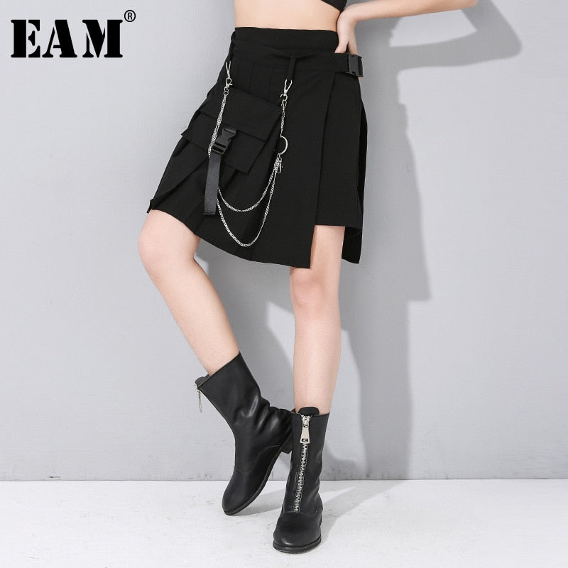 [EAM] High Elastic Waist Black Pocket Split Wide Leg Trousers New Loose Fit Pants Women Fashion Tide Spring Autumn 2020 1N495
