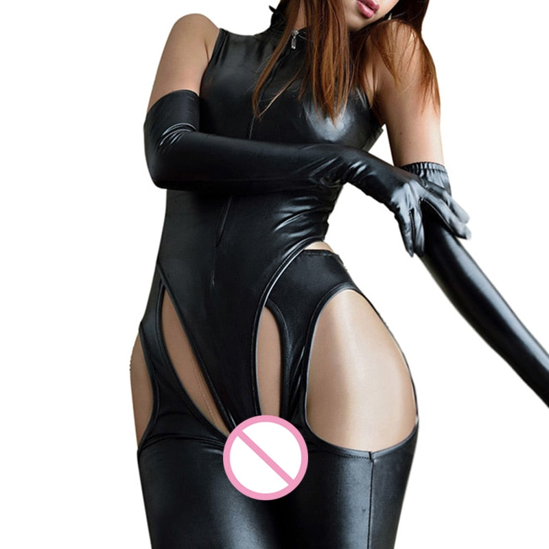 BodysuitOpen Crotch Leggings Gloves Zipper