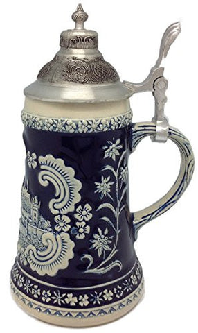 Bavarian German Castle Engraved Ceramic Beer Stein with Ornate Metal Lid - ScandinavianGiftOutlet
