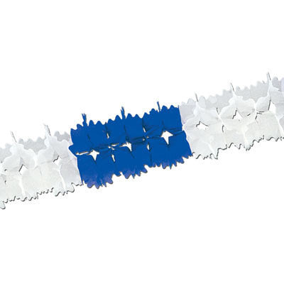 Blue and White Oktoberfest Pageant Garland Decoration 14 Feet - ScandinavianGiftOutlet