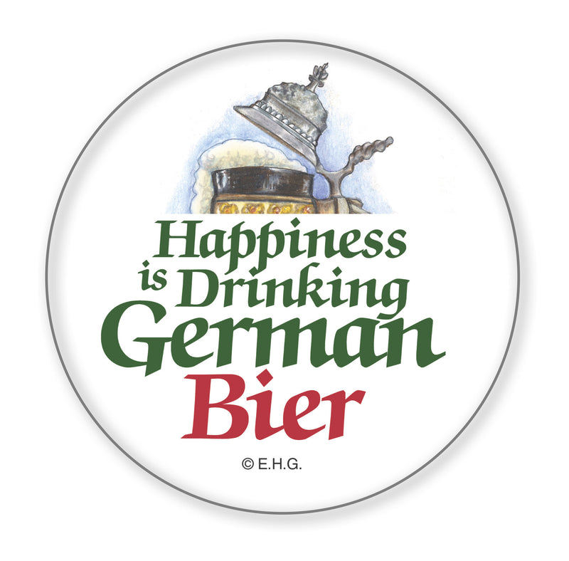 Metal Button. Happiness Is Drinking German Bier - ScandinavianGiftOutlet
