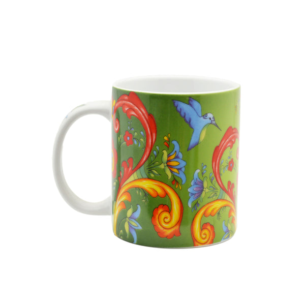 Rosemaling Green Design Ceramic Coffee Mug - 1  - Scandinaviangiftoutlet.com