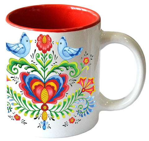 Artistic Lovebirds & Rosemaling Ceramic Coffee Mugs - ScandinavianGiftOutlet