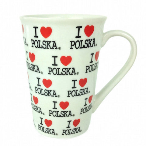 "Coffee Cup with ""I Love Polska Logo"" - ScandinavianGiftOutlet"