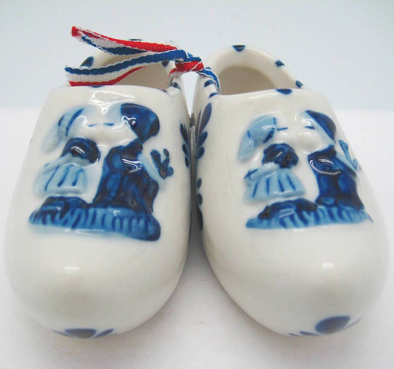 Delft Shoe Pair with Embossed Kiss Design - ScandinavianGiftOutlet